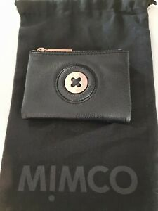 Mimco Mim Mazing Black & Rose Gold Small Leather Wallet