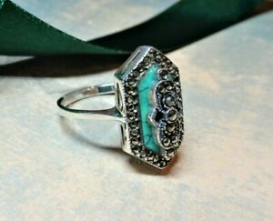 My S Collection 925 Sterling Silver, Marcasite & Turquoise RING