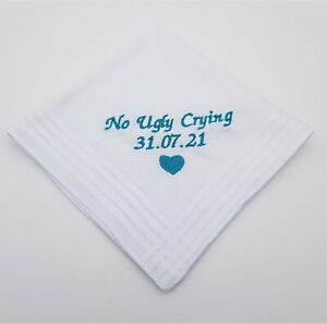 29cm Personalised Handkerchief No Ugly Crying Happy Tears Only Wedding Gift