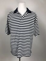 Foot Joy Mens Polo Shirt Athletic Golf Thick Striped Short Sleeve Poly LARGE L