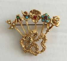 VINTAGE GOLD TONE SIX HAT PINS BROOCH PIN BEE SNAKE FOUR FLOWERS