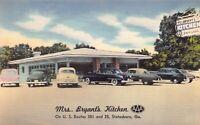 Linen Postcard Mrs. Bryant's Kitchen Restaurant in Statesboro, Georgia~125473