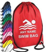 PERSONALISED Boy Girl Swimming  kit Gym BAG PE School SPORTS Holiday 13 colours