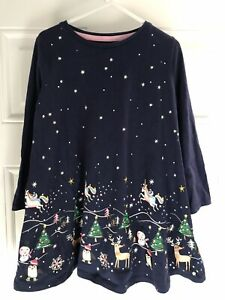 F&F Girls Navy Christmas Unicorn Tunic Dress Age 4-5