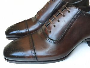 TOM FORD Mens Cap Toe Oxfords Shoes Brown Leather Size US 10.5 $1800