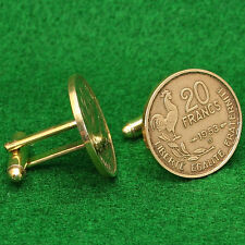 French Cockerel Coin Cufflinks, Gallic Rooster 20 Francs France 4th Republic