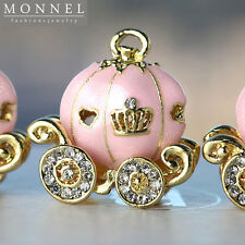 H413 Cute Glitter Pink Pumpkin Carriage Pendant Charm Wholesale (3pcs)