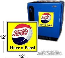 "12"" DRINK PEPSI CAP WITH YELLOW BACKGROUND FOR SODA POP VENDING MACHINE COOLER"