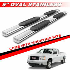 "5"" Chrome Side Bar Running Boards For 1999-2018 Silverado Extended / Double Cab"
