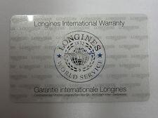 Open and Blank Longines International World Service Warranty Guarantee Card NOS