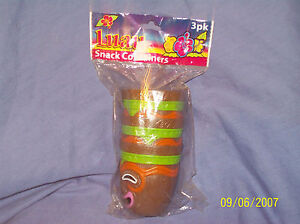 Fun For a Party!!  3 Plastic Luau Snack Containers:  Tiki Face on Front
