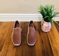 NEW Vince shoes Velvet Slip On Loafers Hydrangea/Pink or beige Smoking Slipper