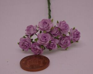 1:12 Scale Light Purple  Paper Roses  A Dolls House Miniature x 10