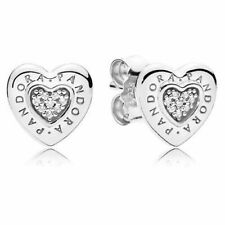 NEW! AUTHENTIC PANDORA SILVER EARRINGS SIGNATURE HEART STUDS #297382CZ HOT new