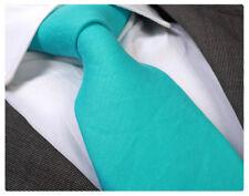 AQUA BLUE 100% LINEN TIE - ITALIAN DESIGNER Milano Exclusive
