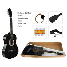 "39"" Beginners Acoustic Guitar Stable Sound w/ Bag Tuner Extra String Set Strap"