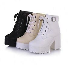 New punk goth Womens chunky heel Roman platform lace up ankle boots shoes Winter