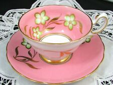 GROSVENOR GREEN GOLD FLORAL CANDY PINK TEA CUP AND SAUCER