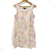 Size 6 New York & Company Women's Paisley Print Sleeveless Dress Multicolor C133