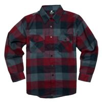 YAGO Men's Casual Plaid Flannel Long Sleeve Button Down Shirt Wine/5 (M-2XL)