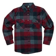 YAGO Men's Casual Plaid Flannel Long Sleeve Button Up Shirt Wine/5 (S-5XL)