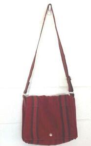 Hermes Paris Womens Fourre-Tout Besace Messenger Bag Red Striped Cotton Flap M