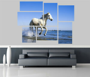 White Horse through Sea Surf Removable Self Adhesive Wall Picture Poster 1167
