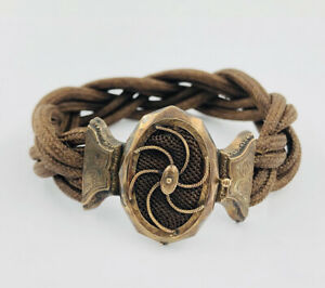 ANTIQUE VICTORIAN 9K YELLOW GOLD WOVEN BRAIDED BROWN MOURNING HAIR BRACELET