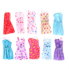 10Pcs Barbie Doll Clothes Accessories Huge Lot Party Gown Outfits Girl Gift VP