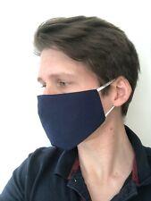 Masque de protection lavable et réutilisable double couche bleu foncé - NEUF