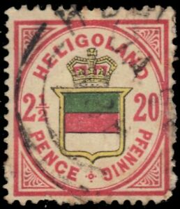 """HELIGOLAND 21 - Coat of Arms """"1888 Vermilion and Green"""" (pb41591)"""