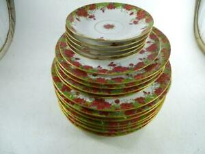 Antique T.V. Limoges France Dinner Plate Dish set Red Flower Tressemann & Vogt