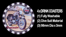 4 x NORTON DOMINATOR PRE COMMANDO, MOTORCYCLE MOTOR CYCLE DRINK COASTERS -