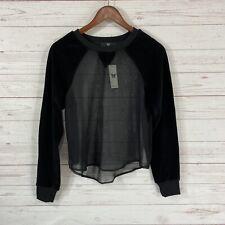 Heroine Sport Illusion Sweatshirt Size Small Sheer Black Velour Sleeves NWT