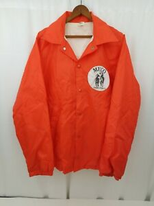 Vintage MECO Racing Stables Orange Wind Breaker Jacket Large to XL Horse Race