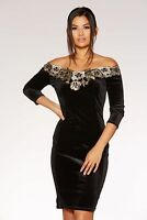 £40 NEW QUIZ Black Velvet Bardot Gold Embroidered Midi Dress 8,10,12,14,16,18,