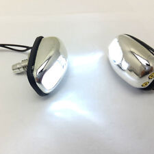 1 pair Spout Windshield Water Spray Nozzle White LED Light Wiper Washer Eyes