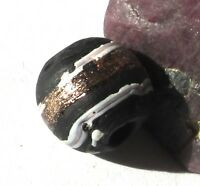 RARE AMAZING OLD BLACK BANDED FANCY VENETIAN ANTIQUE BEAD 11mm x 12mm