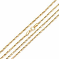 """14k Rope Chain Solid White / Yellow Gold 1.5mm Twisted Necklace (16""""-24"""")"""