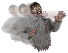 "Halloween Animated BUMP AND GO LIGHT UP EYES ZOMBIE 24"" Tall Prop Haunted House"