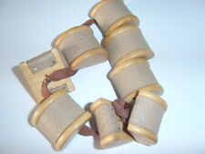 8 Rare Chunky Wood & Leatherette Cotton Reel Shape Vintage Collectable Buttons