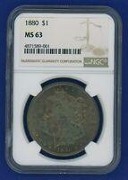 1880 P NGC MS63 Morgan Silver Dollar $1 Coin NGC 1880-P MS-63 Beautiful Blues