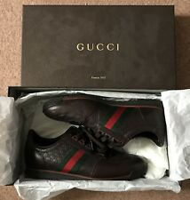 NEW Gucci Mens Leather Logo Brown Sneakers with Web Shoes EU 42.5 UK 8.5
