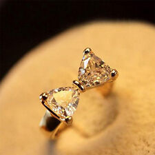 Women Elegant Crystal Fashion Charming New Ring Jewelry Bow 18K Gold Plated