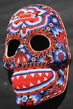HUICHOL PAPER MACHE SKULL DAY OF DEAD MASK MEXICAN NATIVE ART CRAFT WALL HANGING