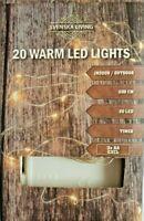 LED Drahtlichterkette Batterie 20 40 100 LEDS warmweiß Timer innen außen Draht