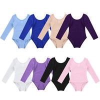 Kids Girls Gymnastic Leotard Long Sleeve Ballet Dance Bodysuit Dancewear Costume