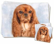 Ruby King Charles Spaniel Dog Twin 2x Placemats+2x Coasters Set in Gi, AD-SKC3PC