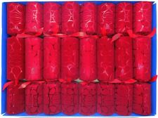 Set of 8 Red Crushed Velvet Flock Fill Your Own Christmas Crackers
