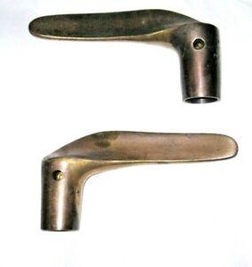 Vintage Pair Mid Century Modern Solid Brass Passage Door Handles